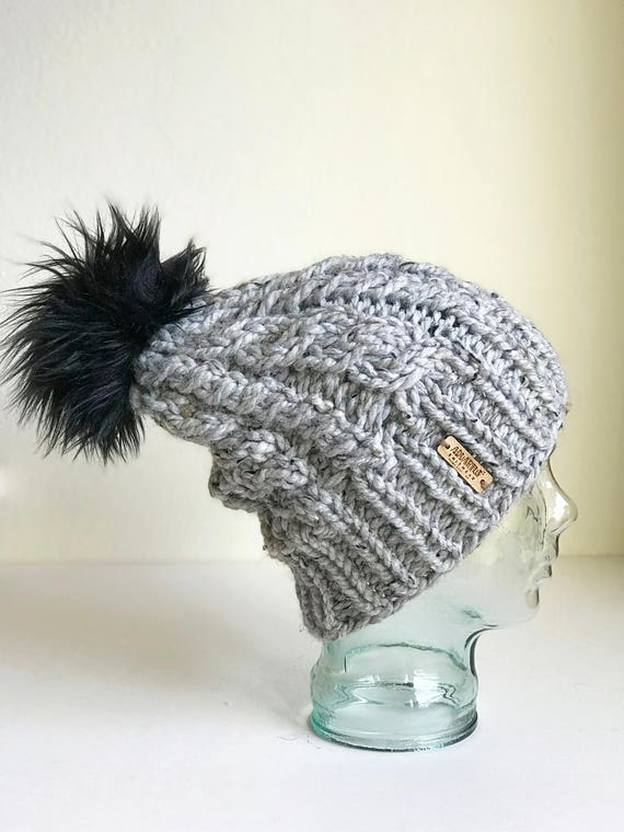 Slouchy Cable Knit Winter Beanie - Gray with Jumbo Faux Fur PomPom - Handmade in MN - Women's Warm Hat - Neutral Accessory - Chunky Knit
