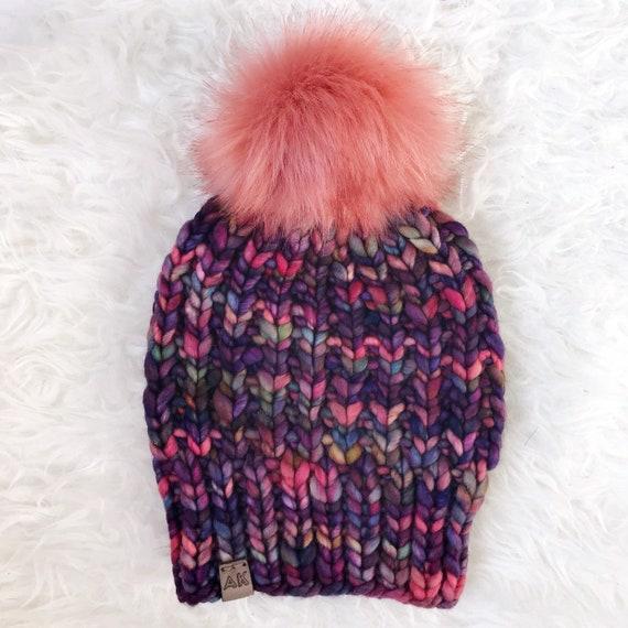Premium Wool 100% Merino Hand Dyed Wool Winter Hat - Purple Pink Multi Color - Slouchy Knit Women's Beanie with Jumbo Faux Fur Pom - Luxury