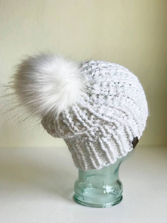 Slouchy Chunky Knit Winter Beanie - White w/ Rainbow Sparkle & Jumbo Faux Fur PomPom - Handmade in MN - Women's Warm Hat - Winter Accessory