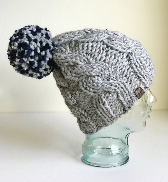 Slouchy Cable Knit Winter Beanie - Gray with Jumbo Navy PomPom - Handmade in MN - Women's Warm Hat - Neutral Accessory