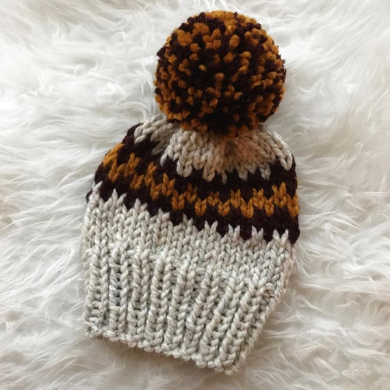 MN Gophers / Gryffindor Slouchy Knit Beanie with Jumbo PomPom - Maroon and Gold Stripes - U of M Football  - University of Minnesota Golden