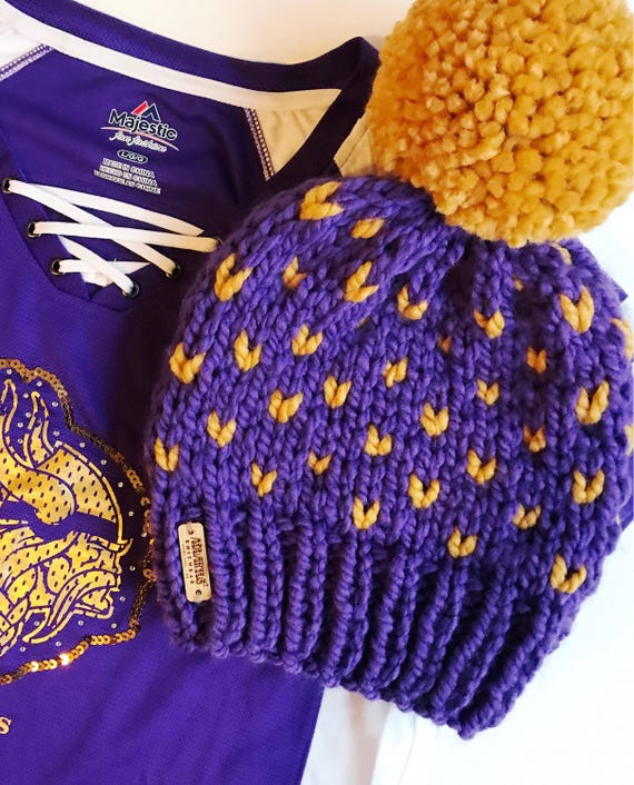 Purple and Gold Minnesota Football Fan - MN Vikings Football - Slouchy Chunky Knit Winter Beanie - Purple & Gold Hearts with Jumbo PomPom