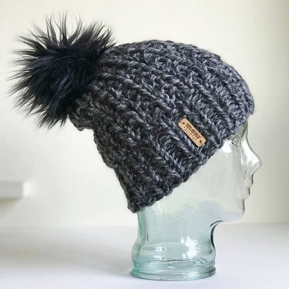 Slouchy Chunky Knit Winter Beanie - Charcoal with Jumbo Faux Fur PomPom - Handmade in MN - Women's Warm Hat