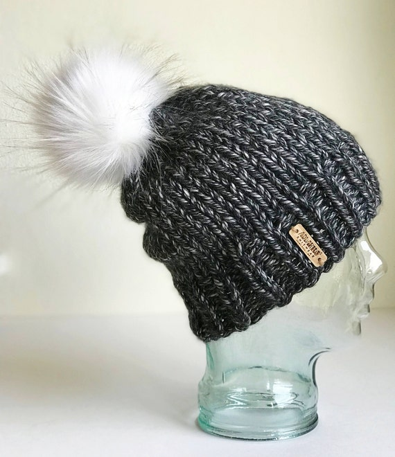 Slouchy Chunky Knit Winter Beanie - Charcoal with Jumbo White Faux Fur PomPom - Handmade in MN - Women's Warm Hat - Vegan