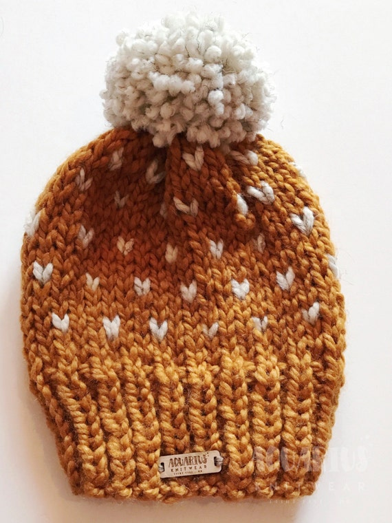 Fair Isle Slouchy Knit Hat with Heart Pattern The Polaris  5d47430e2bc