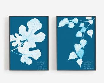 Cyanotype herbarium print set of 2, Scientific illustration art set, Tree botanical cyanotype posters, Vintage style prints, Gift for her