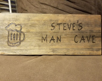 Vintage weathered man cave sign (customizable)