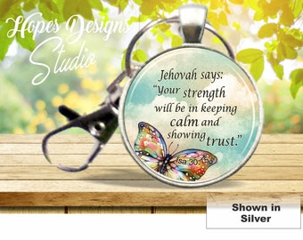 JW gifts/jw Key ring with clip/'Be courageous' floral | Etsy