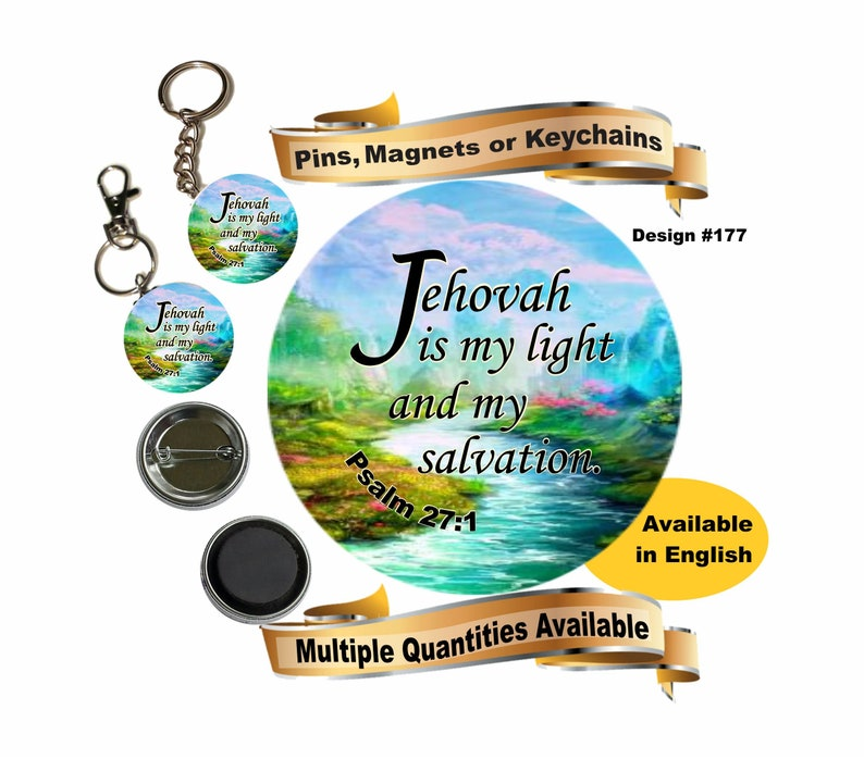 JW gifts/#177/pin,magnet,keychain,bag accessory/ 'Jehovah is my light and  my salvation' Psalm 27:1/mountain stream/convention/baptism/jw org