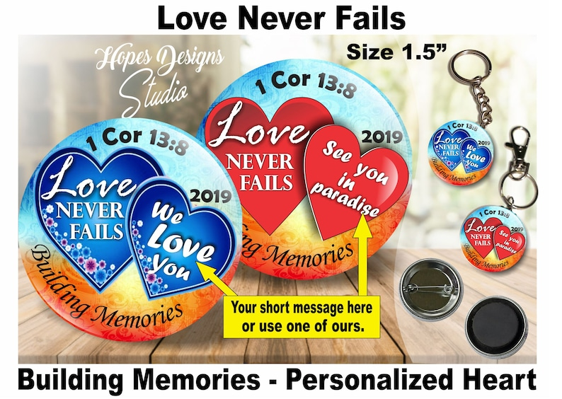 JW Gifts Love Never Fails 2019 Convention Personalized Hearts/1 5