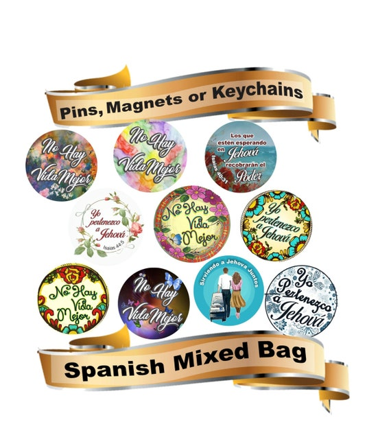 JW Spanish gifts/assortment of 10 pins, magnets, keychains/jw convention  gifts/jw baptism gifts/jw pioneer gifts/jw stuff/jw ministry