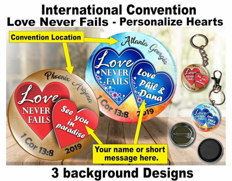 JW Gifts/Love Never Fails 2019 International Convention Personalized  Hearts/1 5