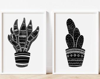Set of Two Houseplant Art Prints | Snake Plant | Cactus | Plant Wall Art | Cacti | Black and White Illustration | Modern Art | Plant lover |