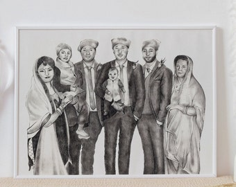 Custom Family Portrait | Bespoke Group portrait | Portrait Sketch | Pencil Drawing | Family | Personalised Gift | Portrait from photo | Art