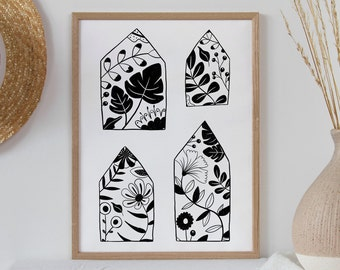 Floral House Wall Art | Floral House Print| Building Illustration | Flowers Drawing | New home gift | Floral Art | Housewarming gift | Folk