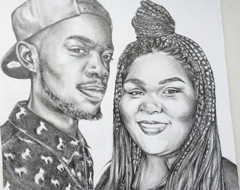 Custom Portrait, Original Pencil Drawing, Pen and Ink, Black and White Art