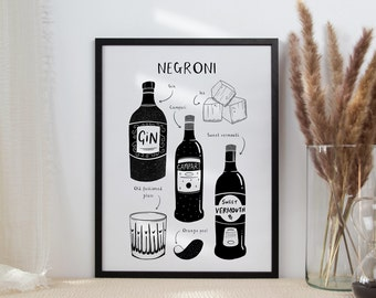 Negroni | Cocktail Art | Cocktail Lover Gift | Black and White Wall Art | Kitchen Art | Classic Cocktail Print | Cocktail Recipe Poster