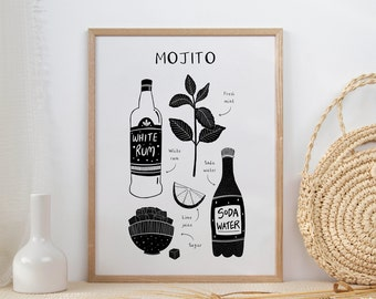 Mojito | Cocktail Art | Cocktail Lover Gift | Black & White Wall Art | Kitchen Art | Classic Cocktail Print | Cocktail Recipe Poster
