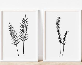 Rosemary and Thyme Set, Culinary Herb Print, Herb Art, Kitchen Herbs Art Print, Botanical Drawing, Herbs, Kitchen Wall Art, Herbs Poster