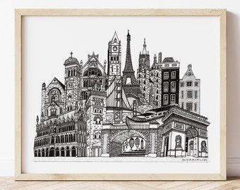 Custom Skyline Illustration | Personalised Cityscape, Travel Gift, Custom Ink Drawing, Cityscape Drawing, Bespoke Art Gift, Illustration