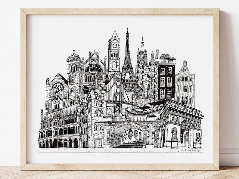 Custom Skyline Illustration  Personalised Cityscape Travel image 1