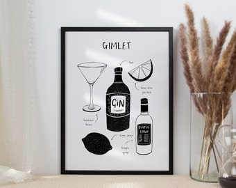 Gimlet | Cocktail Art | Cocktail Lover Gift | Black & White Wall Art | Kitchen Art | Classic Cocktail Print | Cocktail Recipe Poster