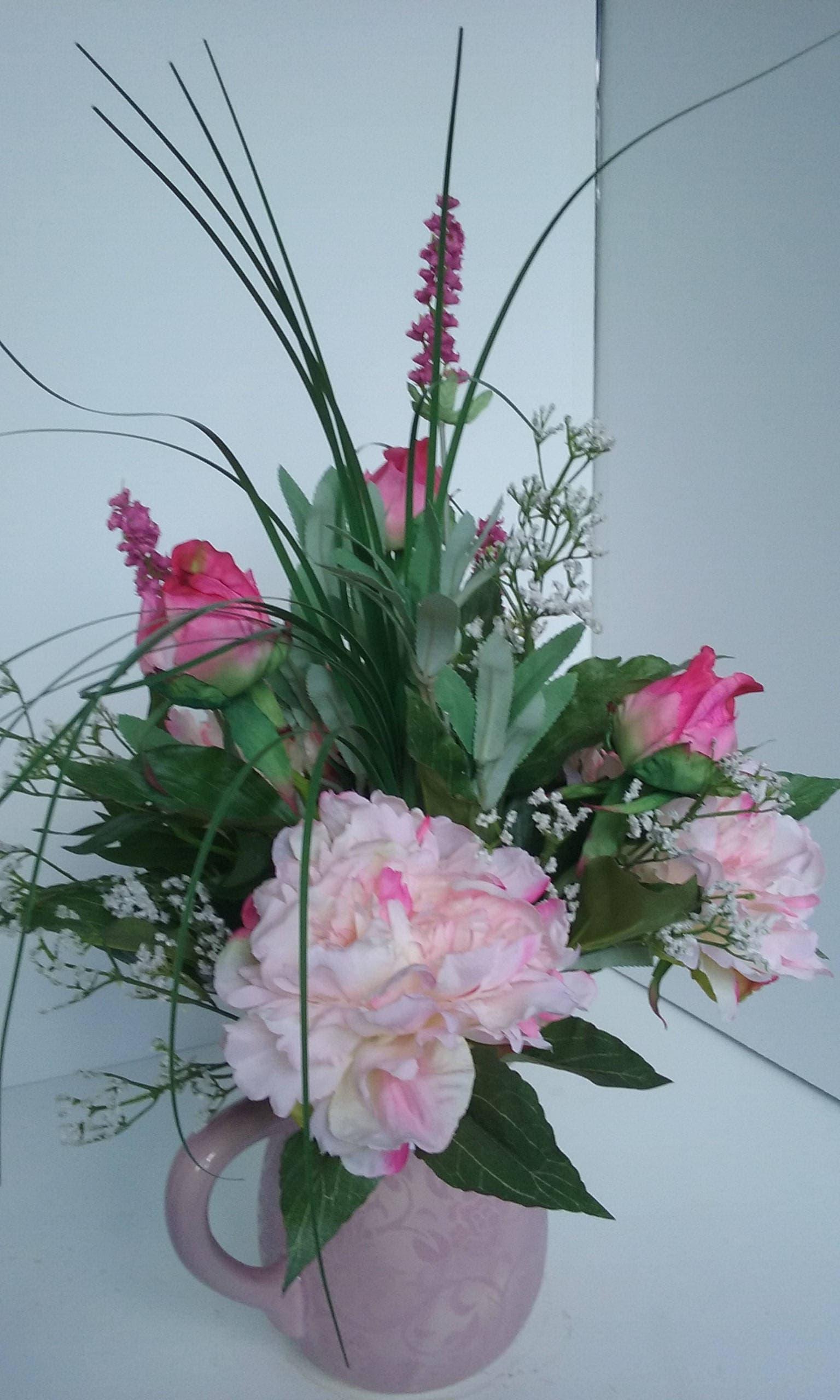 All Around Silk Floral Arrangement In Mauve Pitcher Etsy