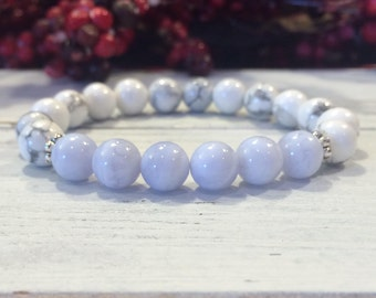 Howlite & Blue Lace Agate Bracelet, A Grade, Healing Stones, Stress Relief, Authentic Communication, Mindful Living, Calming, Throat Chakra