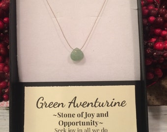 Green Aventurine Necklace, green crystal necklace, intention setting, heart chakra necklace, intention of joy, optimism, hope, opportunity