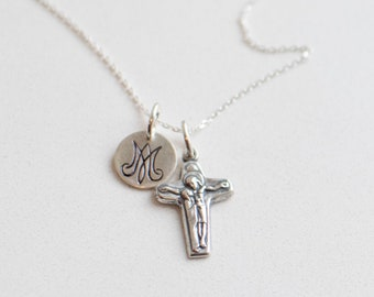 Sorrowful Mother Sterling Silver necklace - Auspice Maria - Unity Cross - Sorrowful Mother - Catholic Necklace - Sterling Silver Necklace