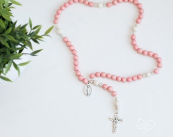Peachy Pink Wood Bead Rosary - Catholic Rosary  - Rosary - Wood Bead Rosary - Confirmation Gift - Catholic Gift - First Communion