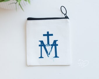 Marian Cross Rosary Case - Rosary Purse - Rosary Pouch - Confirmation gift - Communion Gift - Miraculous Medal
