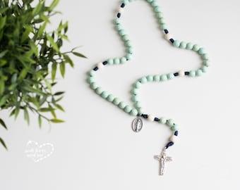 Seafoam Wood Bead Rosary - Catholic Rosary  - Rosary - Wood Bead Rosary - Confirmation Gift - Catholic Gift - First Communion
