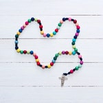 Colorful Wood Bead Rosary - Catholic Rosary  - Rainbow Rosary - Wood Bead Rosary - Confirmation Gift - Catholic Gift - First Communion
