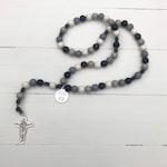 Esto Vir Bead Rosary - Catholic Rosary  - Black & Gray Rosary - Wood Bead Rosary - Confirmation Gift - Catholic Gift - Father's Day