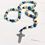 Blues and Yellow Wood Bead Rosary - Catholic Rosary - Wood Bead Rosary - Confirmation Gift - Catholic Gift - First Communion - Boy Rosary