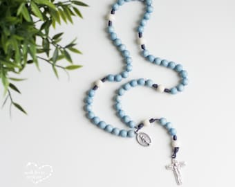 Light Blue Wood Bead Rosary - Totus Tuus - Catholic Rosary - Rosary - Wood Bead Rosary - Confirmation Gift - Catholic Gift - First Communion