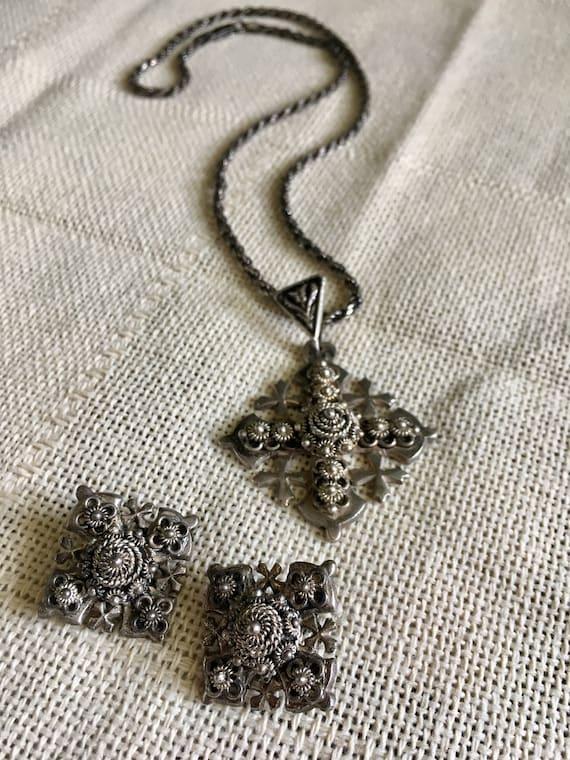 Antique Silver Cross Jewelry Set, crusader cross,