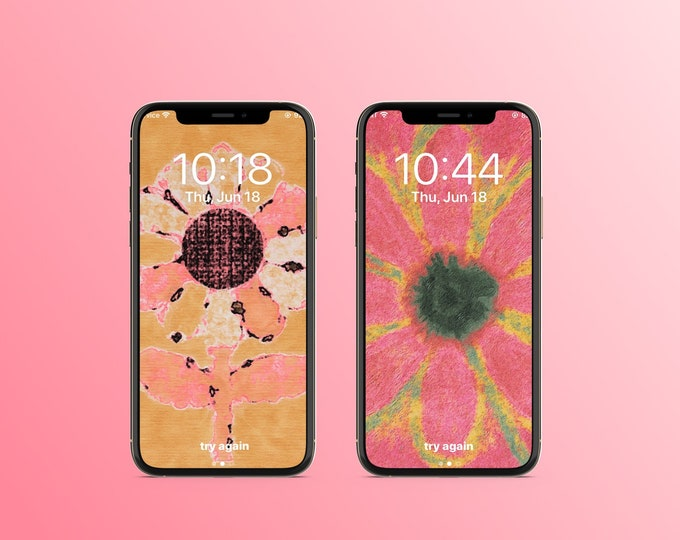 "Set of 2 Smart Phone Wallpaper ""Pink Flowers"" ~ Digital Download"