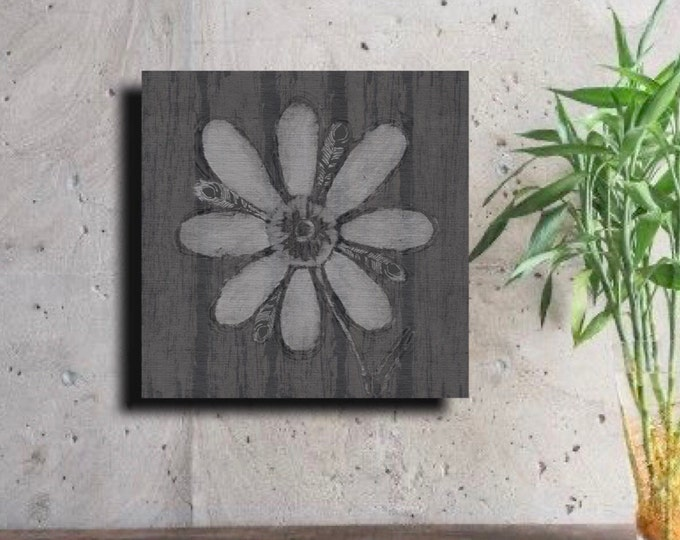 Gray Feathered Flower with regular Vertical Wood Grain ~   Digital Download