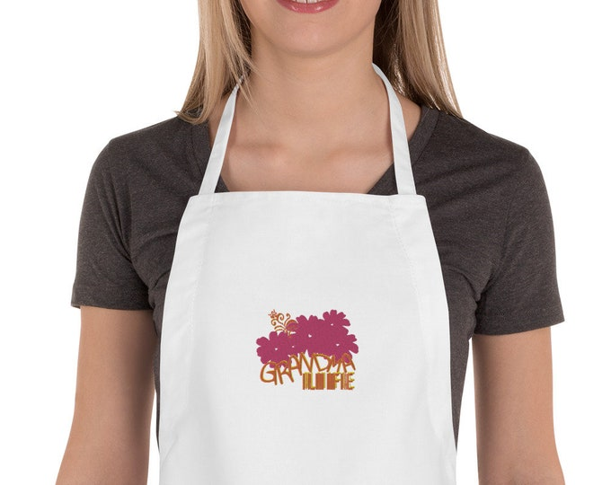 Embroidered Apron Grandma Life with flowers