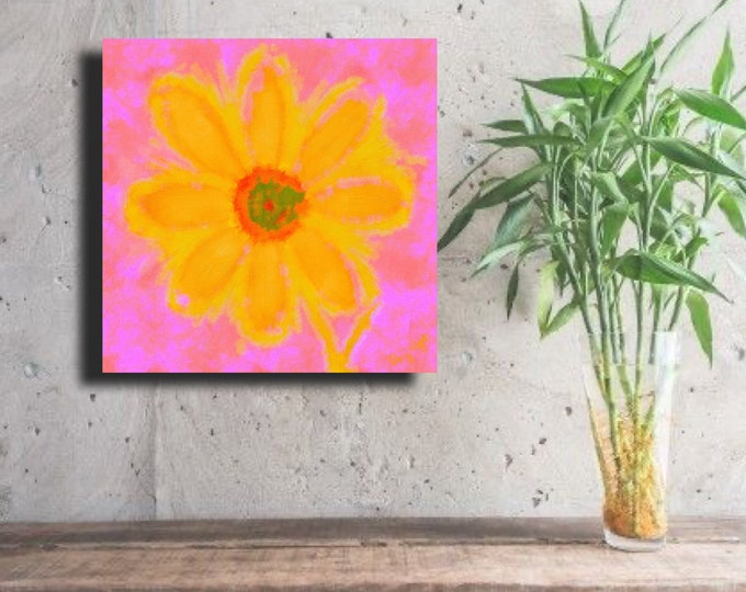 "Flower of Many Colors ""Bright Yellow on Pink Background"" ~ Digital Download"