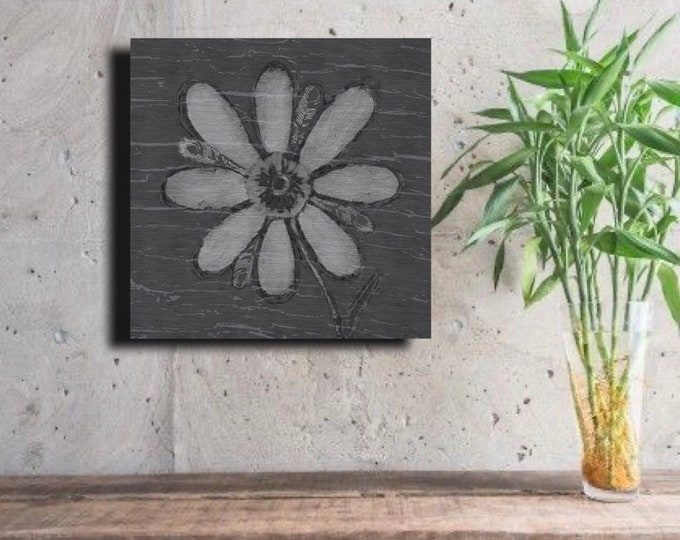Gray Crackled Feathered Flower ~ Digital Download