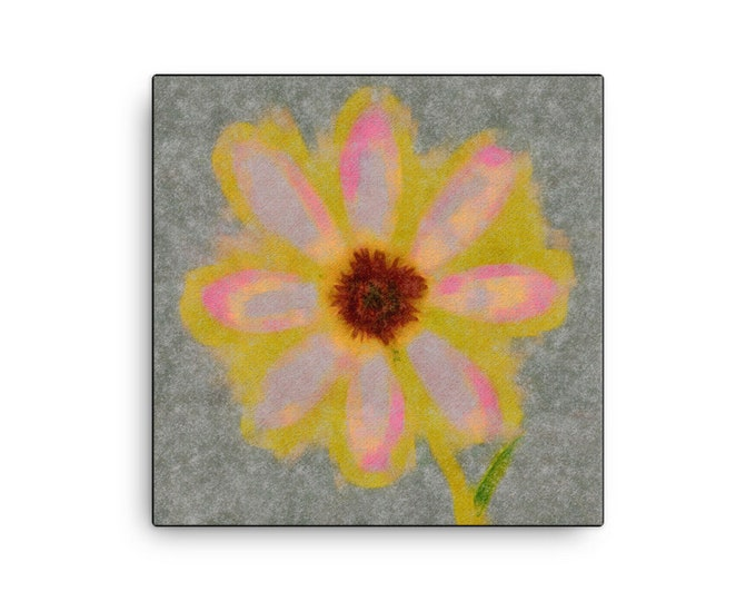 "Brilliant Yellow Flower with hints of pink ~ ""Canvas"""