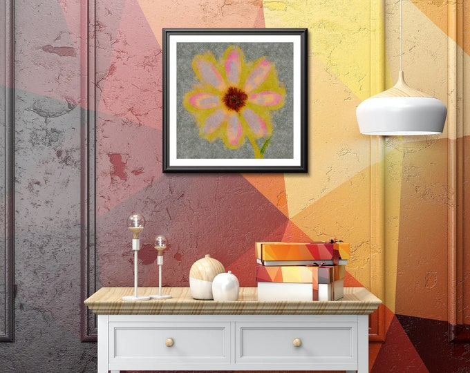 Brilliant Yellow Flower with hints of pink Photo paper poster