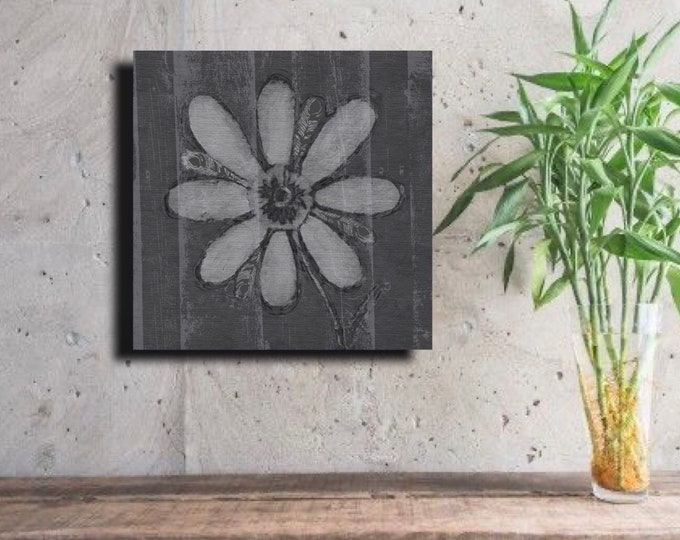 Gray Feathered Flower with Vertical Wood Grain~ Digital Download