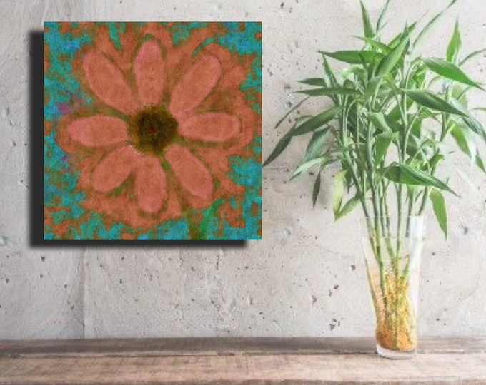 "Flower of Many Colors ""Salmon on Turquoise"" ~Digital Download"