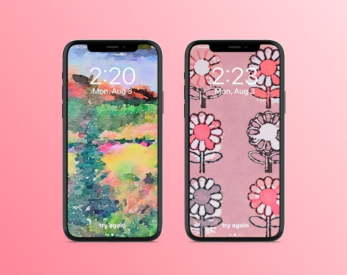 "2 Pack Smart Phone Wallpapers ""Watercolor Art"" ~ Digital Download"