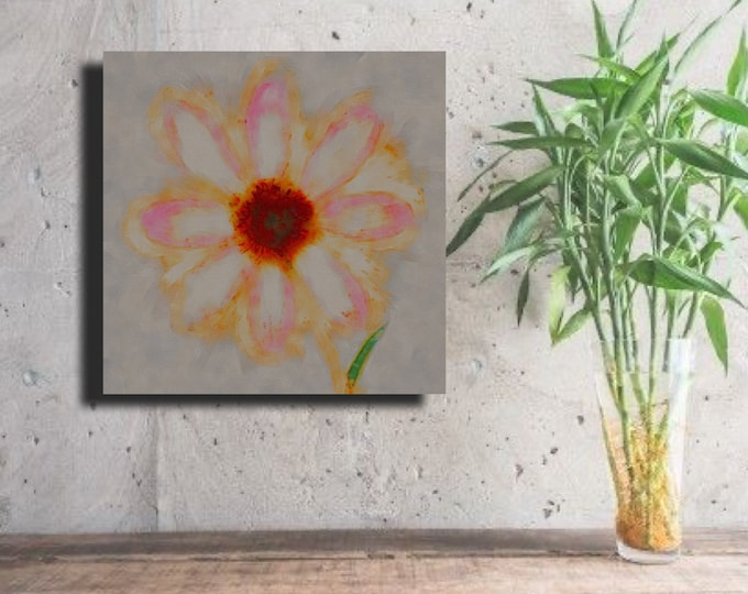 "Flower of Many Colors ""Firey Orange Cente, soft pink pedal tops"" ~Digital Download"