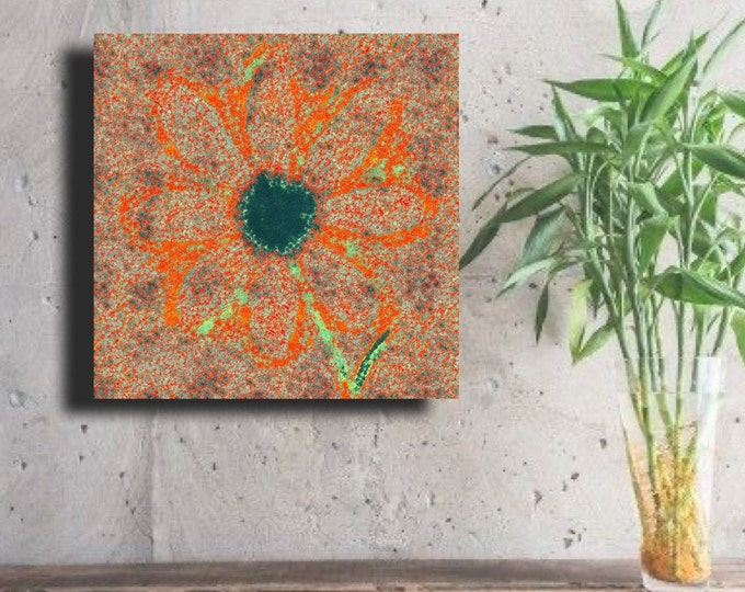 "Flower of Many Colors ""Bright orange outlined Abstract"" ~ Digital Download"